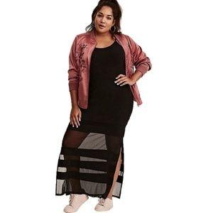 Torrid 3X Black Sheer Panel Full Length Maxi Skirt